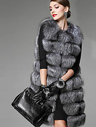Women's Casual/Daily Street chic Fur Coat,Solid Long Sleeve Spring / Fall Gray Faux Fur Medium