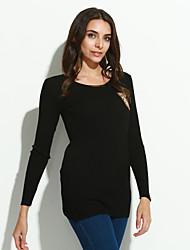 Damen Standard Pullover-Ausgehen Sexy Patchwork Schwarz Grün Orange Rundhalsausschnitt Langarm Baumwolle Herbst Mittel Mikro-elastisch