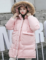 Women's Long Padded Coat,Simple / Cute / Street chic Going out / Casual/Daily / Holiday Solid-Polyester Cotton Long Sleeve TurtleneckPink