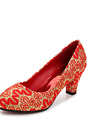 Women's Heels Fall Comfort Leatherette Wedding Low Heel Others Red Walking