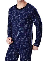 Costumes Vêtement de nuit Homme,Imprimé Points Polka-Epais Coton Bleu