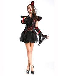 Vampiros Festival/Celebración Traje de Halloween Rojo / Negro Un Color Vestido / Chal / Guantes / SombrerosHalloween / Navidad / Carnaval