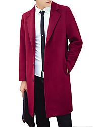 Masculino Casaco de Trench Casual Simples Outono / Inverno,Sólido Azul / Vermelho / Preto / Cinza Lã / Poliéster Colarinho de Camisa-