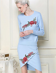 Women's Going out / Beach / Holiday Sexy / Cute / Chinoiserie Sweater Dress,Geometric Round Neck Knee-length Long Sleeve Blue Polyester