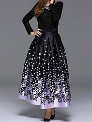 Damen Röcke,A-Linie Punkte / Muster Gefaltet,Party/Cocktail Street Schick Mittlere Hüfthöhe Midi Elastizität Polyester Micro-elastisch