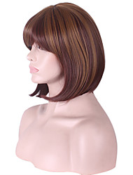 Capless Bobo Short Side Bang Synthetic Wigs for Women Ombre Dark Brown Heat Resistant with Free Hair Net