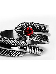 Men's Ring Luxury Titanium Steel Imitation Diamond Feather Jewelry For Daily Casual