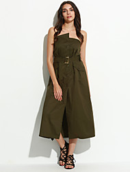 Women's Casual/Daily Sexy Tunic Dress,Solid Strapless Midi Sleeveless Green Polyester Summer