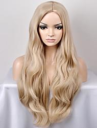 жен. Парики из искусственных волос Без шапочки-основы Длиный Очень длинный Естественные волны Отбеливатель Blonde Прямой пробор Парик из