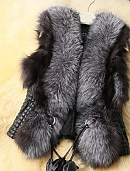 Women Faux Fur Top , Integrated simulation fur vest dress coat plus-size women waistcoat short fur