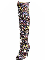 Women's Boots Spring Summer Fall Winter Comfort Fabric Dress Casual Party & Evening Stiletto Heel Zipper Multi-color Walking