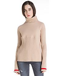 Damen Kurz Pullover-Lässig/Alltäglich Retro Solide Beige Rollkragen Langarm Wolle Winter Mittel Mikro-elastisch