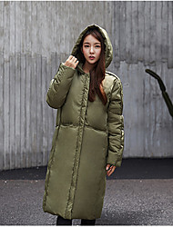 Women's Long Padded Coat,Street chic / Sophisticated Sports Solid-Cotton Cotton Long Sleeve Hooded Black