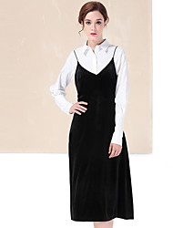 YZXH Women's Casual/Daily Simple Fall / Winter T-shirt Skirt SuitsCheck Boat Neck  Sleeve Black Cotton / Polyester