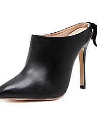 Women's Heels Others Leather Microfibre Outdoor Office & Career Dress Casual Party & Evening Stiletto Heel Satin Flower Black