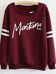 Women's Korea Style Letter Print Loose Hoodies , Casual Round Neck Long Sleeve