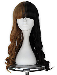 High Temperature Fiber Women Synthetic Long Curly Half Blonde and Black Color Cosplay Costume Party Wig