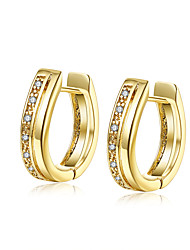Earrings AAA Cubic Zirconia Zircon Copper Gold Plated Simulated Diamond Fashion Gold Jewelry Daily Casual 1 pair