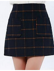 Women's A Line Solid / Geometric / Check Denim Skirts,Casual/Daily / Beach Simple Mid Rise Mini Elasticity Faux Fur Micro-elasticSpring /