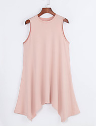 Women's Casual/Daily Sexy Loose Dress,Solid Round Neck Asymmetrical Sleeveless Pink Polyester Summer