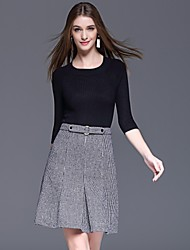 Dreamy Land Women's Casual/Daily Simple Fall Set SkirtHoundstooth Round Neck Long Sleeve Black / Gray Polyester