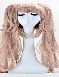 Halloween Holiday Party Wigs 65cm Anime Hair Junko Enoshima Double Ponytail  Clip Long Synthetic  Cosplay Hair Wig
