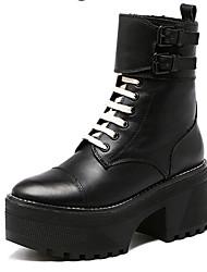 Damen-Stiefel-Lässig-PU-Blockabsatz-Andere-Schwarz