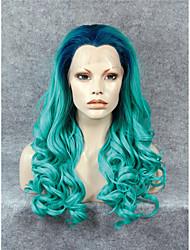 imstyle résistant longue vague dentelle synthétique perruque avant drag queen populaire 24''green de chaleur ombre