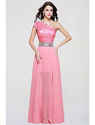 Floor-length Chiffon / Lace Furcal Bridesmaid Dress - A-line One Shoulder with Beading / Lace / Sash / Ribbon / Split Front