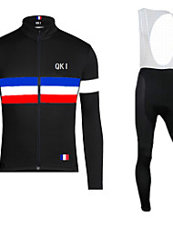 QKI Classical Cycling Jersey With Bib Long Tights Long Sleeve Bike Breathable / Quick Dry / Anatomic Design / 3D Coolmax Gel Pad