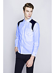 Men's Going out / Formal / Work Vintage / Simple / Cute All Seasons Shirt,Solid / Color Block Shirt Collar Long SleeveBlue / White /