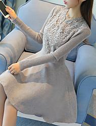 Женский На каждый день Очаровательный А-силуэт Платье Однотонный,V-образный вырез Выше колена Длинный рукав Черный / СерыйХлопок /