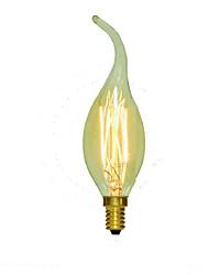 40w c35l decoração de tungstênio lâmpada tração vela cauda vela de estilo europeu (cores sortidas)