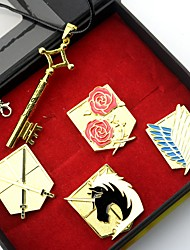 Badge / Plus d'accessoires Inspiré par Attack on Titan Eren Jager Anime Accessoires de Cosplay Colliers / Badge Doré Alliage