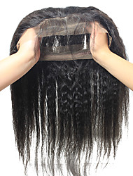 Brazilian Virgin Hair Kinky Straight Pre Plucked 360 Lace Band Frontal Closure With Adjustable Straps With Baby Hair