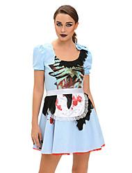 Costumes de Cosplay Tenus de Servante Fête / Célébration Déguisement Halloween Bleu Imprimé Robe / Tablier / Coiffure Halloween / Carnaval
