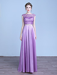 Formal Evening Dress A-line Jewel Floor-length Chiffon with Beading / Embroidery
