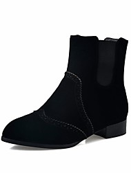 Women's Boots Spring Fall Winter Comfort Fleece Office & Career Dress Casual Low Heel Black Red Walking