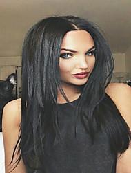 parte dianteira do laço peruca brasileira virgem reta cabelo humano yaki para as mulheres negras