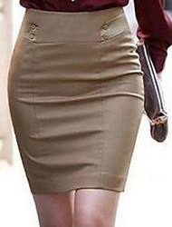 Damen Röcke,A-Linie einfarbigLässig/Alltäglich Mittlere Hüfthöhe Mini Elastizität Baumwolle Micro-elastisch Riemengurte / Herbst