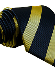 Men's Necktie Tie Navy Blue Yellow Stripes 100% Silk New Business Casual Fashion For Men