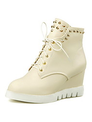 Women's Round Closed Toe Solid Low-Top High Heels Boots