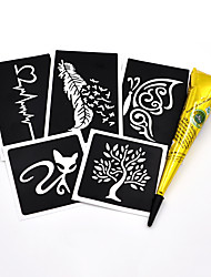 5 Pieces Henna Stencil 1 Piece Black Henna Paste Body Art Paint Indian Cone Drawing for Women Men