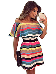 Women's Colorful Stripes Ruffle Off Shoulder Skater Dress