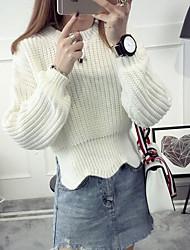 Damen Standard Pullover-Ausgehen Lässig/Alltäglich Einfach Solide Beige Schwarz Braun Grün Gelb Lila Rundhalsausschnitt Langarm Polyester