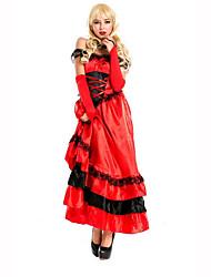 Reina Festival/Celebración Traje de Halloween Rojo / Negro Un Color VestidoHalloween / Navidad / Carnaval / Día del Niño / Año Nuevo /