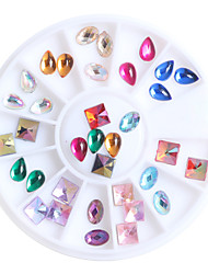 Top Nail 12 Shiny Color Design Acrylic Wheel Glitter Rhinestone Manicure Tips For Charms 3D Nail Art Decorations