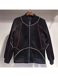 Men's Going out / Casual/Daily Simple / Active Jackets,Solid Stand Long Sleeve Fall Black Polyester Medium