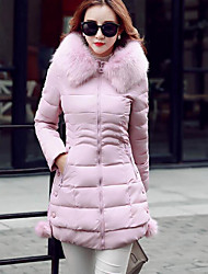 Women's Long Padded Coat,Simple Casual/Daily Solid-Polyester Polypropylene Long Sleeve Pink