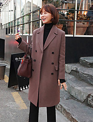 Women's Casual/Daily Simple Coat,Solid V Neck Long Sleeve Winter Purple Polyester Medium